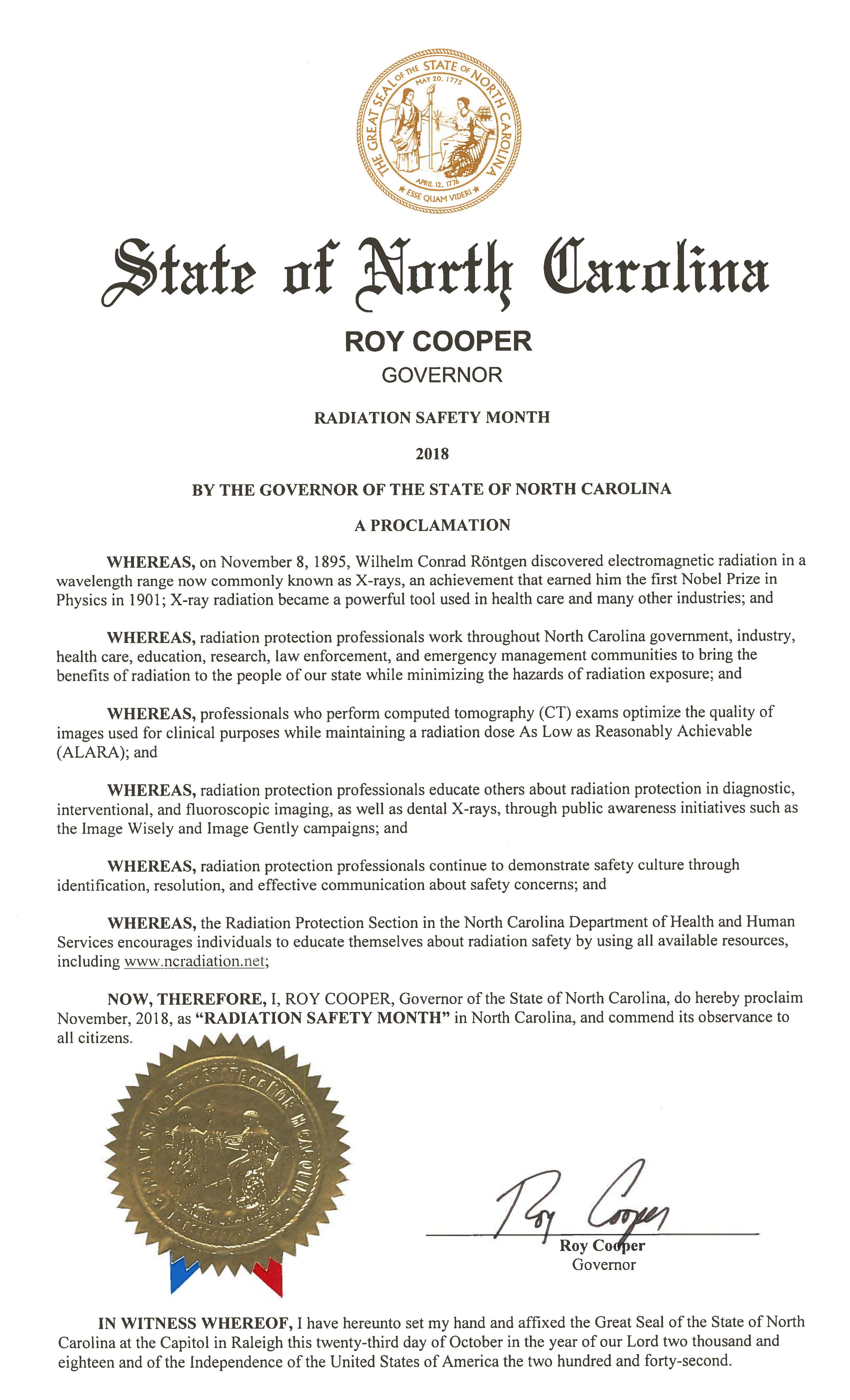 2018 NC Proclamation